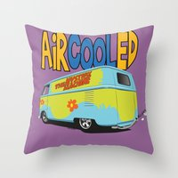 vw bus Throw Pillows featuring VW Camper Drag Bus by VelocityGallery