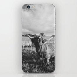 Black and White Highland Cow - Moo iPhone Skin