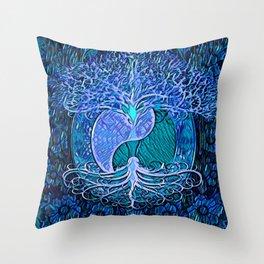 Tree of Life Yin Yang Blue Throw Pillow