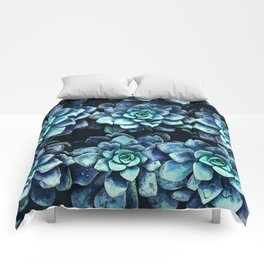 Blue And Green Succulent Plants Comforters
