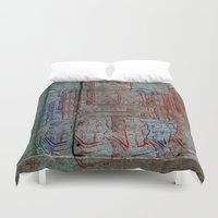 army Duvet Covers featuring Robot army by Ale Ibanez