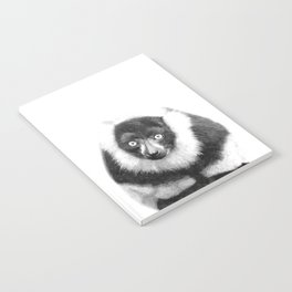 Black and white lemur animal portrait Notebook