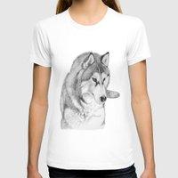 husky T-shirts featuring Siberian  Husky by stevesart