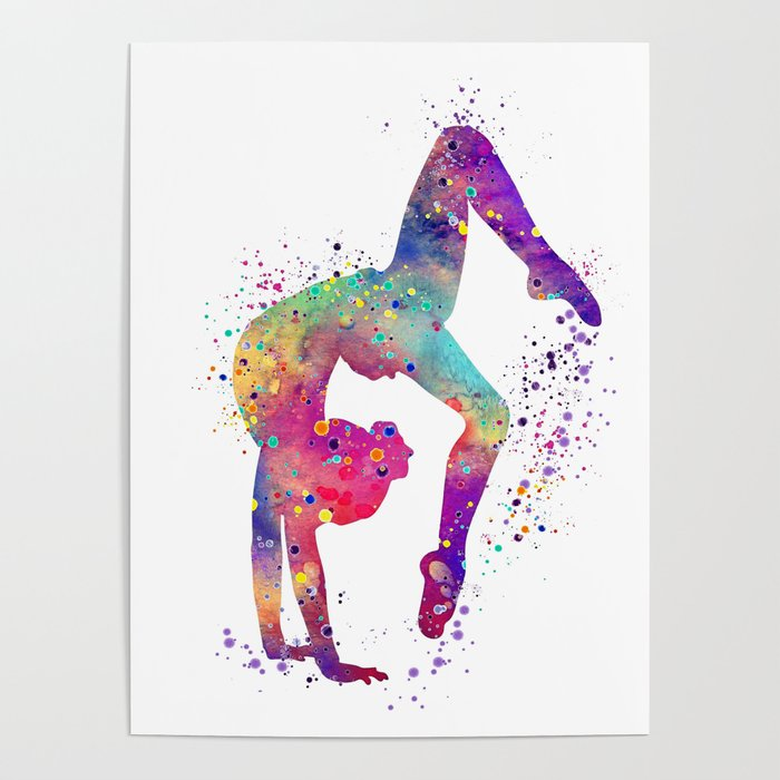 Gymnastics Tumbling Watercolor Poster