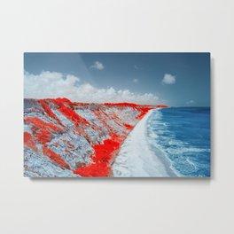 "Aerial view of Trancoso beach in Bahia, Brazil - ""Falesias"" Beautiful cliff Metal Print"