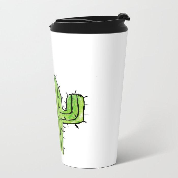 Hello Cactus Metal Travel Mug