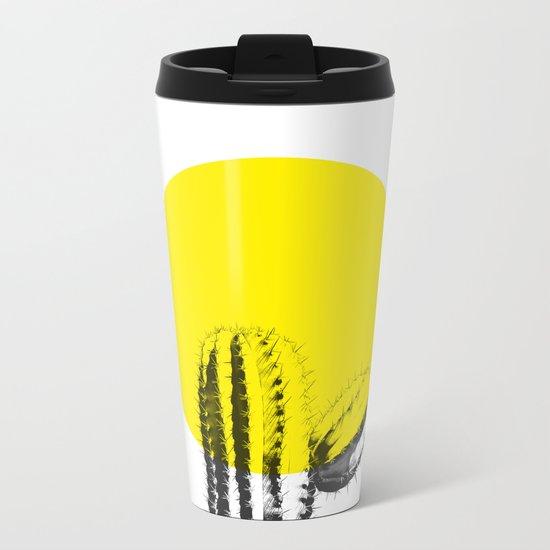 Sunset Minimal Cactus Metal Travel Mug