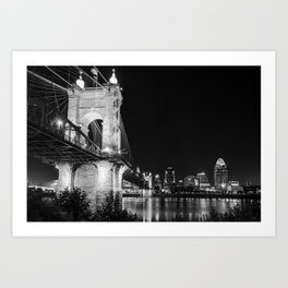 Roebling Bridge and Cincinnati Skyline at Night - Black and White Art Print