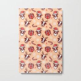 deer christmas pattern Metal Print