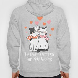24th wedding Anniversary For Cat Lover T-Shirt Hoody