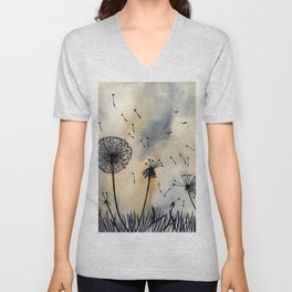 Dandelion Silhouettes Watercolor Art Unisex V-Neck