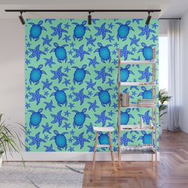 Beautiful blue swimming ocean turtles and starfish seamless lovely marine light teal green pattern. Wall Mural