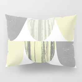 Yellow and Grey Geometric Abstract Scallop Pattern Pillow Sham