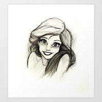 ariel Art Prints featuring Ariel by Herself