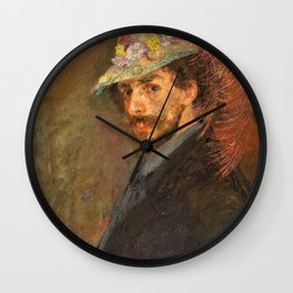 Self-portrait with flowered hat - James Sidney Edouard Baron Ensor Wall Clock