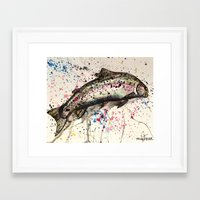trout Framed Art Prints featuring rainbow trout by Tricia Kibler