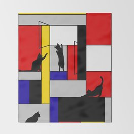 cat Mondrian Throw Blanket