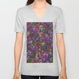 Floral Abstract Stained Glass G175 Unisex V-Neck