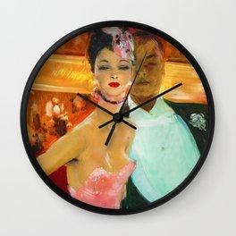 'Black & White at La loge a l'Opera' by Jean-Gabriel Domergue Wall Clock