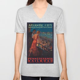 Vintage poster - Atlantic City Unisex V-Neck