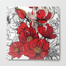 Boho Chic Red Poppy Flowers with Black and White Background Metal Print