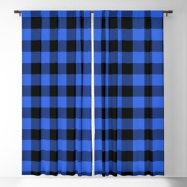 Royal Blue and Black Lumberjack Buffalo Plaid Fabric Blackout Curtain
