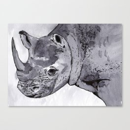 Rhino - Animal Series in Ink Canvas Print