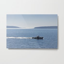 Lobster Boat And Islands Off Mount Desert Island Maine Metal Print