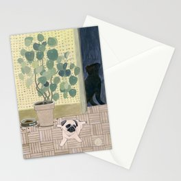 Pug Puppy Playing Stationery Cards