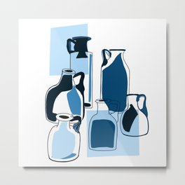 Blue vintage glass bottles  Metal Print