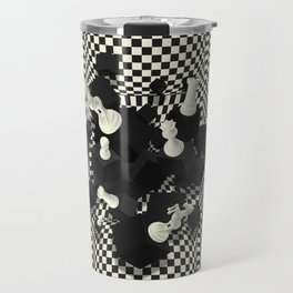 Chessboard and 3D Chess Pieces composition Travel Mug