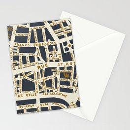 PARIS MAP GREY GOLD Stationery Cards