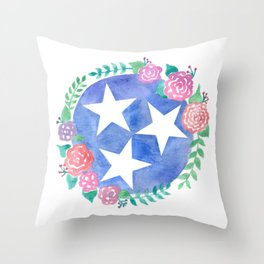 Tennessee Tri-star with flowers Throw Pillow