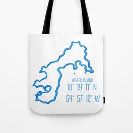 Water Island coordinates Tote Bag