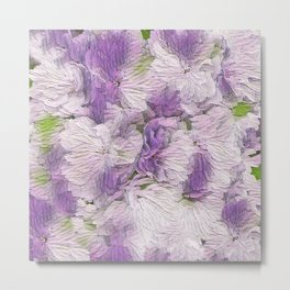 Purple - Lavender Fluffy Floral Abstract Metal Print