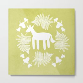 Acorn Fern Unicorn Metal Print