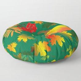 Rowan, pumpkin, autumn maple leaves on green background. Floor Pillow