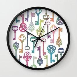 Rainbow Keys on White Wall Clock