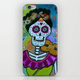 Mexican Artist Violin Player Dia de los Muertos iPhone Skin