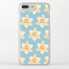 Day Lily Illustrative Pattern on Light Blue Clear iPhone Case