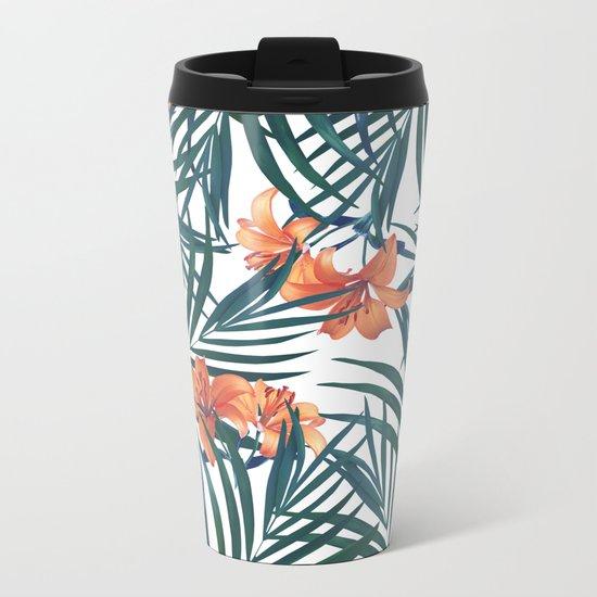 Tropical Lilies Metal Travel Mug