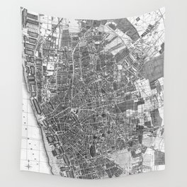 Vintage Map of Liverpool England (1890) BW Wall Tapestry