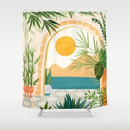 Villa View / Tropical Landscape Shower Curtain