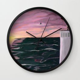 Lighting the way Lighthouse digital art painting Wall Clock