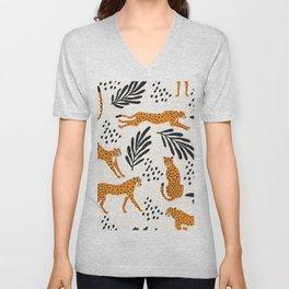 Cheetahs pattern on white Unisex V-Neck