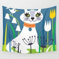 kitty Wall Tapestries featuring KITTY by Shirley Copperwhite