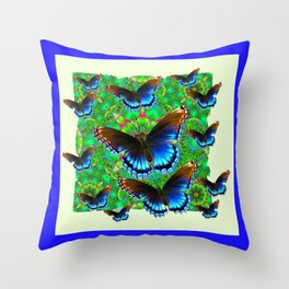 BLUE-BROWN BUTTERFLY GREEN ART Throw Pillow
