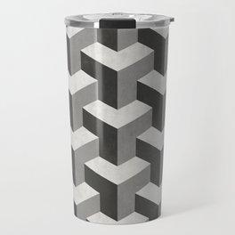 Interlocking Cubes Pattern - Black, White, Grey Travel Mug