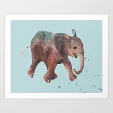 Blue Elephant Spots Art Print