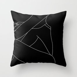 Nude figure line drawing - Lou Black Throw Pillow